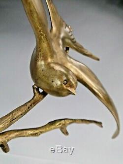 Gh Lawrence Splend. Bird Bronze Sculpture Art Deco Marble Base 1925 Ca.