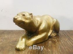 Gilt Bronze Sculpture Art Deco Bear Bear Lying Signed Dulac Period Art Deco