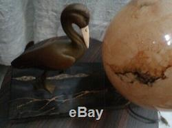 Glass Lamp & Bronze Sculpture With Heron Signed Gual Circa 1930 French Art Deco