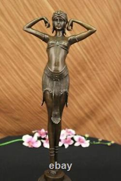 Grand Dimitri Chiparus Dancer Art Deco Bronze Sculpture Marble Base Figure