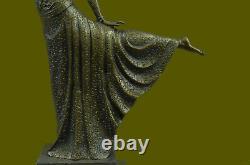 Grand Dimitri Chiparus Dancer Art Deco Bronze Sculpture Marble Base Lr