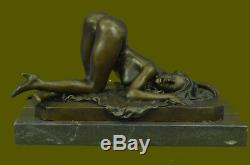 Grand Erotic Nude Woman Nude Bronze Sculpture Figurine Erotic Art Deco