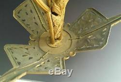 Grand Luster Sculpture Art Deco Bronze 1925 1930 Stamp Mh Suspension