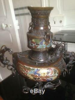 Grand Sculpture Bronze Cloisonne Vase Art Asia China Japan, Beautiful Decor
