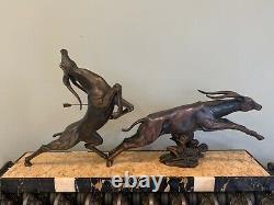 Grand Sculpture Statue Art Deco Jacques Limousin Antilopes En Fuite Sign