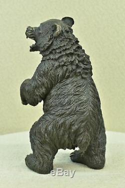 Grand Signed Art Deco Black Bear Sculpture Bronze Statue Marble Figurine