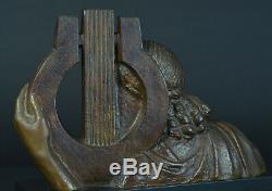 Great Art Deco Sculpture Bronze Muse Terpsichore Dance Bracquemont Lyre Etling