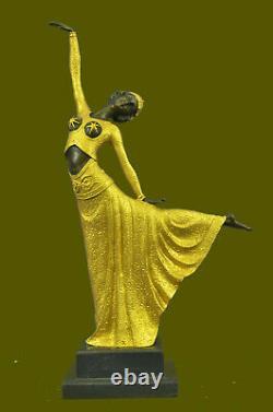 Great Dimitri Chiparus Dancer Art Deco Bronze Sculpture Marble Base Figure D