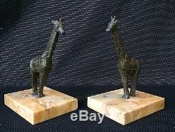 Greenhouse Books Giraffes In Bronze Art Deco Sign Manin Sculpture