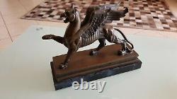 Griffon Bronze Sculpture Art Nouveau Gothic On Marble Base