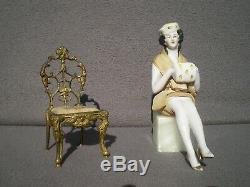 Half Figurine Sitzendorf Art Deco Bronze Chair Half Doll Porcelain Sculpture