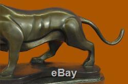 Handmade Big Tiger Bronze Sculpture Figurine Base Marble Art Figurine