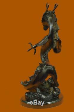 Handmade Signed Dragon Thomas Bronze Sculpture Marble Statue Figurine Art