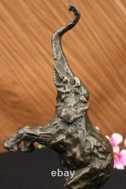 Happy Elephant Bronze Sculpture Statue Art Decor Marble Domestic Base Deco