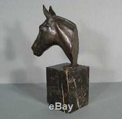 Head Of Horse Paperweight Sculpture Ancient Art Deco Bronze Signed Le Verrier