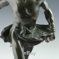 Henri Du Gauquié (1858-1927) Sämann Art Nouveau Bronze Sculpture Fac And Spera