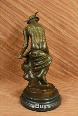 Hermes Mercury Roman Messenger God Statue Bronze Sculpture Cast Iron Art Deco