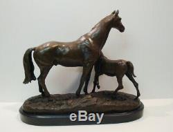 Horse Sculpture Statue Animal Style Art Deco Art Nouveau Bronze Massive