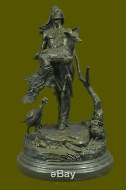Indian American Art Leader Warrior Bronze Marble Statue Sculpture Figurine