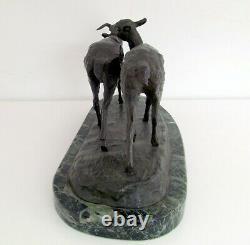 Irene Rochard (1906-1984) Ancient Cast In Bronze Art Deco Antelope Couple