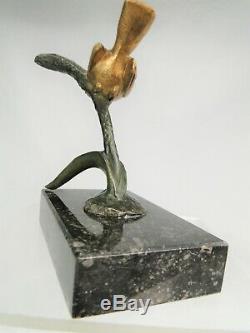 Irenee Rochard (1906-1984) Beautiful Bird Sculpture Art Deco Bronze A 2 Patinas