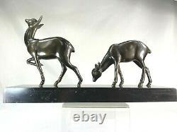 Irenee Rochard (1906-1984) Sculpture Art Deco Biches Art Fonte D'bronze Patina