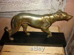 Irenee Rochard (1906-1984) Sculpture Greyhound Art Deco Statue Patinee Bronze
