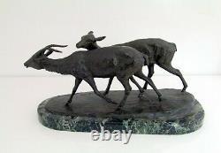 Irenénée Rochard (1906-1984) Cast Iron Bronze Couple Art Deco Antilopes