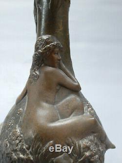 Jean Garnier Art Nouveau Vase Bronze Sculpture 1900 Female Nude Galle Guimard