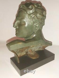 Jean Mermoz Art Deco Bronze Aviator Sculpture Signed