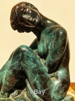 Juan De Avalos (1911-2006) Sculpture Bronze Art Deco Naked Woman 20th Century