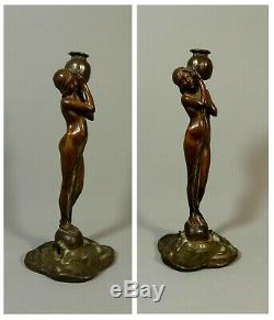 Jugendstil Sculpture Bronze Lamp Art Nouveau Era, Female Flower, Nymph Dryad