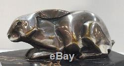 L. Rigot Sculpture Bronze Silver Dun Boulant Signed Rabbit. Art Deco Period