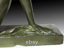 Large Bronze Sculpture The Bather By Jean Ortis Art Deco Period 1925