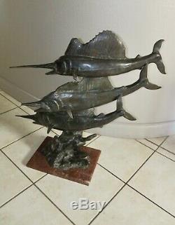 Large Sculpture Art Deco Animalière 3 Swordfish Bronze 74 CM
