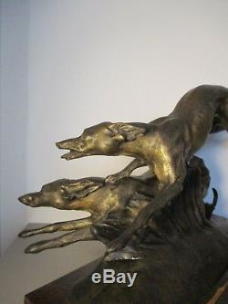Large Statue Sculpture Bronze Animal Art Deco 1930 Signed Francisque. 16kg