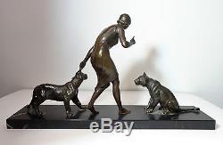 Louis Riche Elegant With Lionesses Sculpture Bronze Art Deco Antike Skulptur