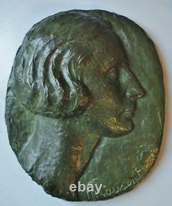Low Relief Sculpture Woman With Cousinet Bronze Art Deco Carved Valsuani