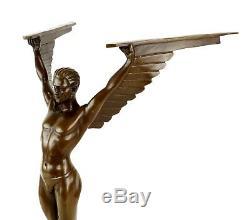 Magnificent Art Deco Sculpture Icarus Bronze Sign. Gennarelli