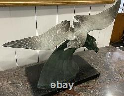 Magnificent Bronze Sculpture Animal Bird Albatros Signed H. Lechesne Art Deco