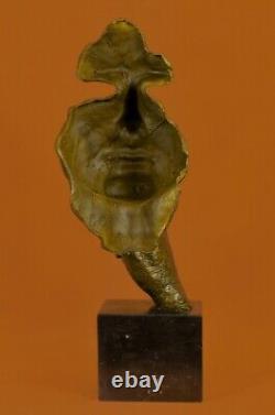 Man Face Sculpture Bronze Statue Dali The Silence Fonte Art Deco Balance