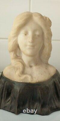 Marble And Bronze Sculpture G. Verona Art Nouveau Original Marble Deco