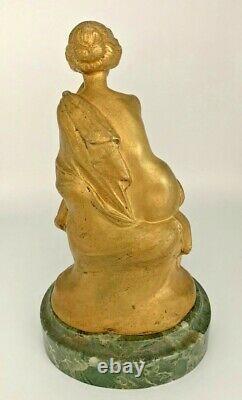 Maurice Bouval Gilded Bronze Sculpture, Green-art New-gurschner Marble Base
