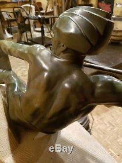 Max Le Verrier Art Deco Old Rare Large Sculpture Statue Years 20 30 Bronze