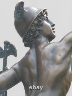 Mercury / Hermes & Cauceus On Marble Base Signed Bronze Sculpture Art Fonte