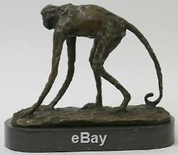 Modern Abstract Art Artwork Ape Monkey Animal Bronze Sculpture Marble Base Decor