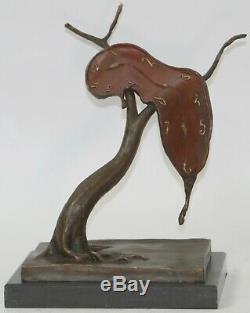 Modern Abstract Art Melting Clock Bronze Sculpture By Salvador Dali Balance