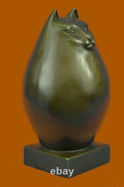 Modern Art Bronze- Fat Cat, Signed A Tribute To Botero Bronze Sculpture Deco