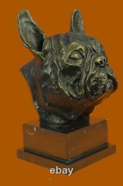 Modern English French Bulldog Main Art Bronze Sculpture Statue Figure