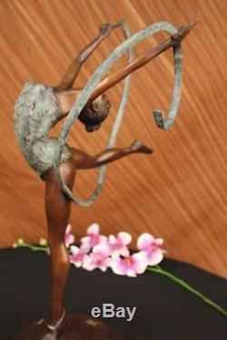 Multicolored Patina Fonte Ribbon Dancer Bronze Sculpture Art Deco Statue Case